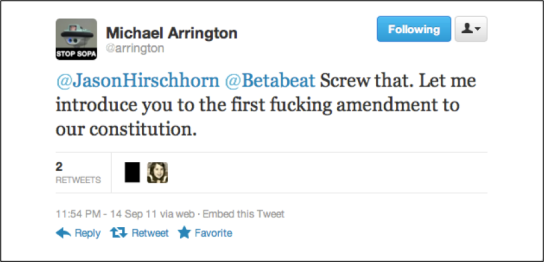 Michael Arrington introduces BetaBeat to the First Amendment?