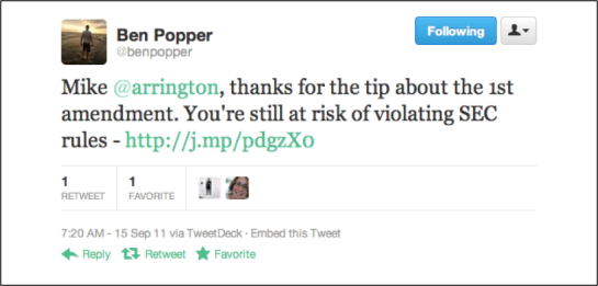 Jason Popper responds to Michael Arrington on Twitter about CrunchFund and potential SEC conflicts